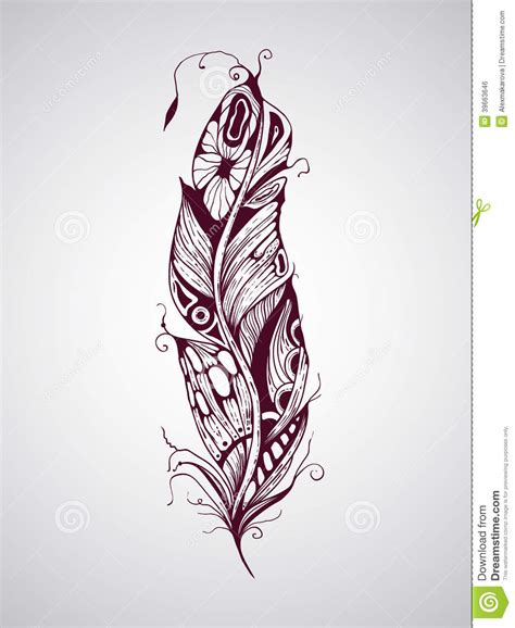 feather tattoo vector vector feather stock vector image 39663646