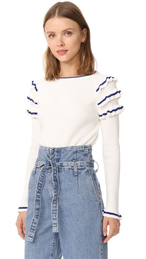Solly Ruffle White factory ruffle sweater in white blue