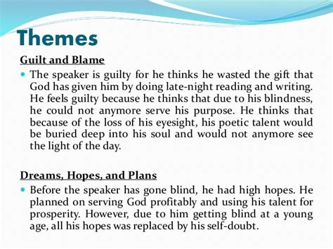 themes gods are not to blame poem analysis on on his blindness by john milton