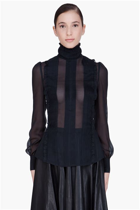 Black Blouse mcq black sheer blouse in black lyst