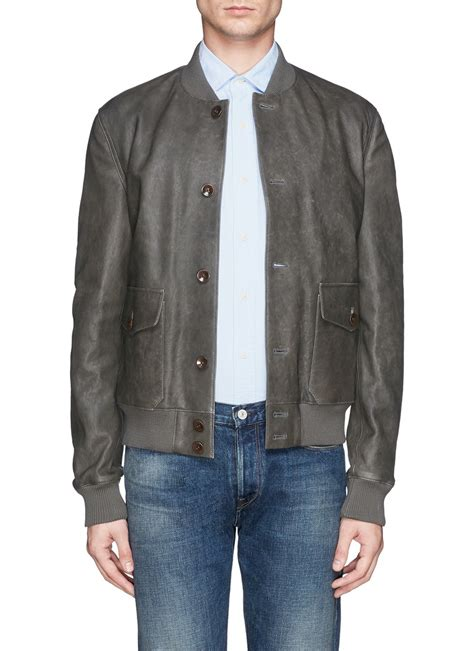 Jaket Bomber Wash Jaket Bomber B Jaket Bomber Jaket boglioli washed leather bomber jacket in gray for grey lyst