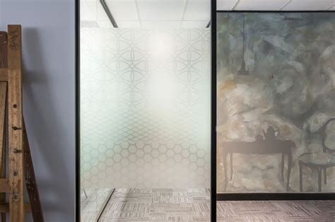 mixing textures custom designed pattern etched glass agains porters zinc paint wall with a