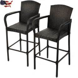 Outdoor Wicker Bar Stools With Backs 2 Pcs Rattan Wicker Bar Stool Armrest High Counter Chair