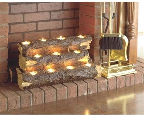southern enterprise burning log fireplace candelabra
