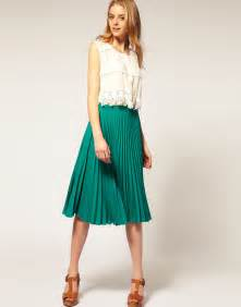 asos collection asos pleated midi skirt in green lyst