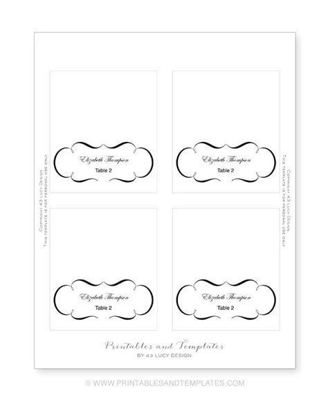 word place card template 4 per sheet free place card templates 6 per page 28 images top