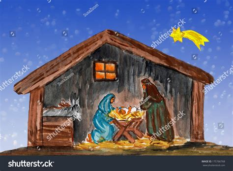 baby jesus in the crib nightly scenery joseph manger stock