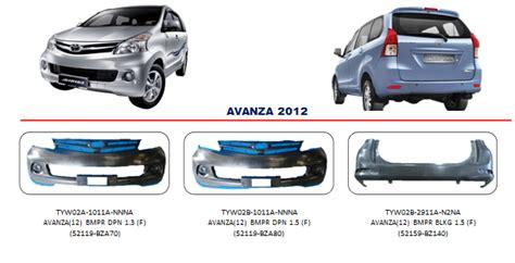 Accu Mobil Avanza bemper toyota avanza 2012 auto part mobil