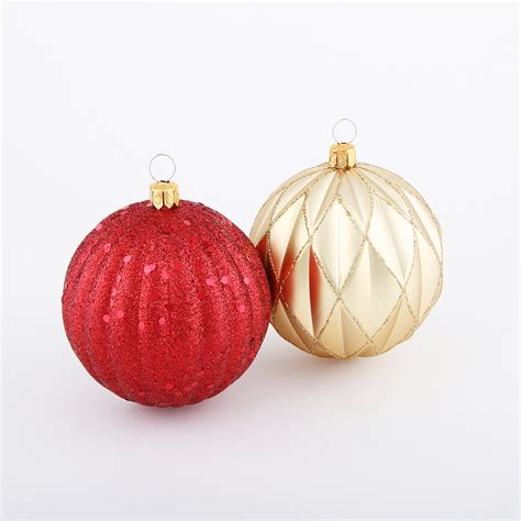 4ct 80mm shatterproof christmas round shape ornaments with