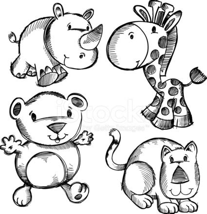 doodle drawing images doodle sketch safari animals stock vector freeimages