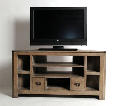 meuble tv d angle h 233 v 233 a massif gris 233 7 niches 2 tiroirs