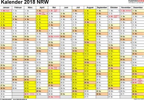 Kalender 2018 Querformat Zum Ausdrucken Kalender 2018 Nrw Ferien Feiertage Pdf Vorlagen