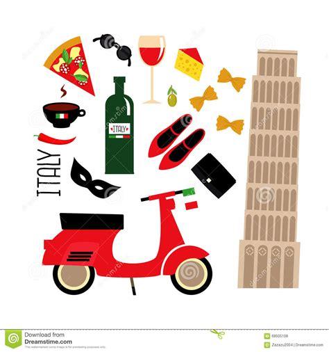 Cartoon Italian Culture Symbols: Pisa Tower, Retro Scooter, Red Wine, Coffee, Pizza, Pasta