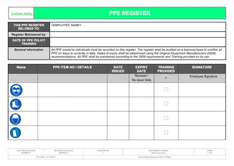 Ppe Checklist Template Ppe Personal Protective Equipment Register Individual