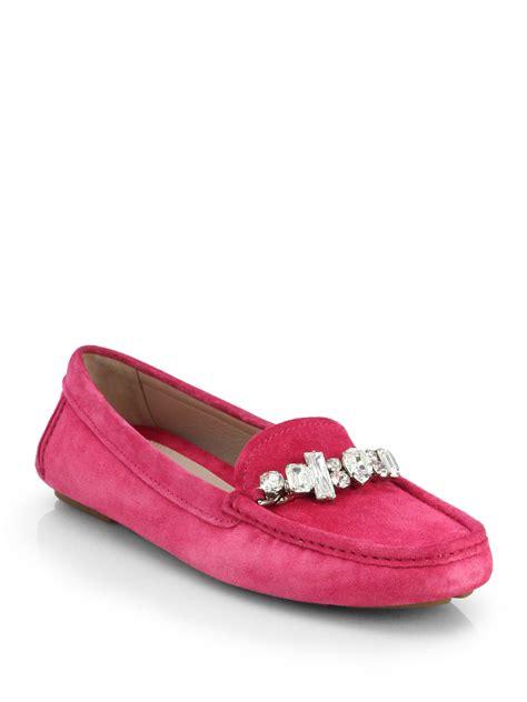 miu miu loafers lyst miu miu donna jeweled suede loafers in pink