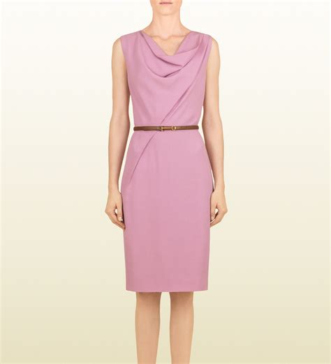 gucci gum matte satin dress with leather belt in