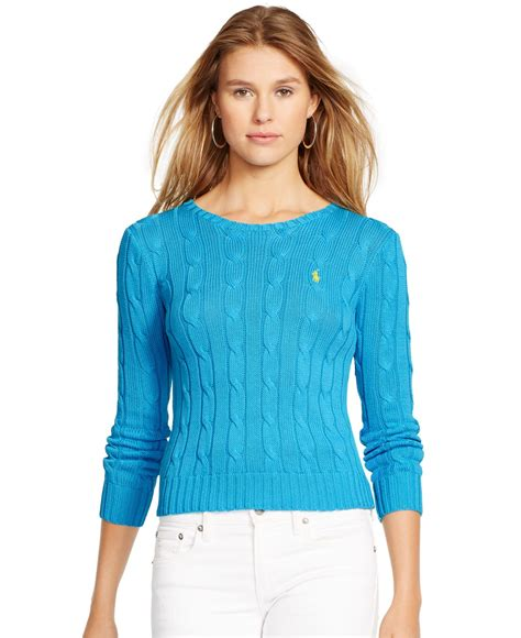 knit cotton sweater lyst polo ralph cable knit cotton sweater in blue
