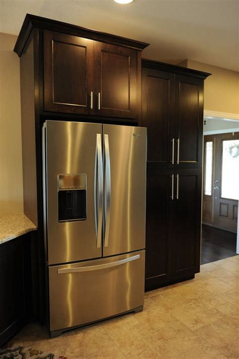 kitchen cabinet refrigerator black polished oak wood tall free standing pantry cabinet