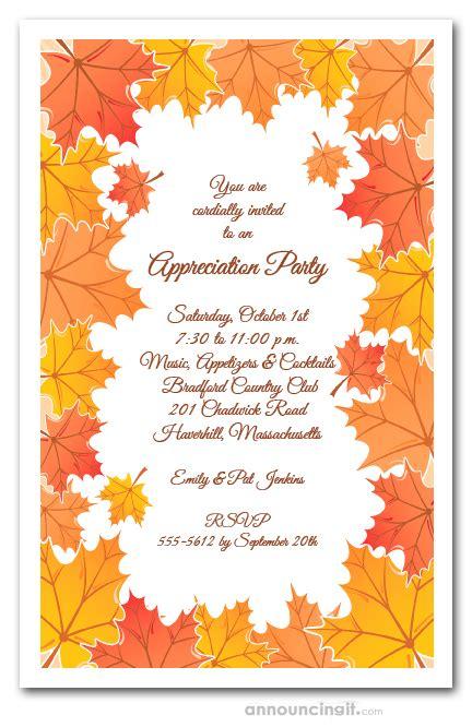 tangerine fall leaves invitations autumn party invitations