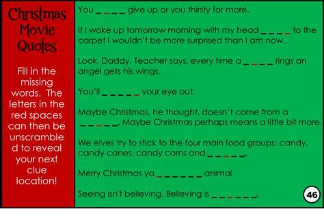 film quiz clues printable christmas movie trivia game treasure hunt