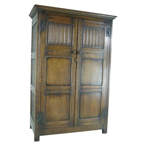 antique oak armoire wardrobe b390 antique scottish two door linen fold oak panelled