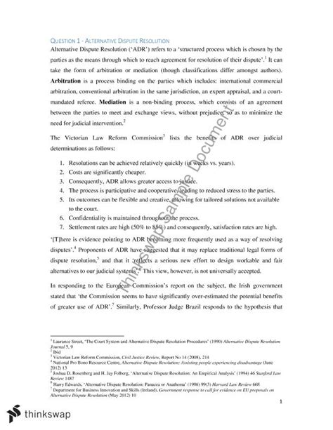Alternative Dispute Resolution Essay by Alternative Dispute Resolution Laws4101 Foundations Of And Lawyering Thinkswap