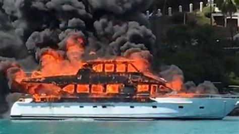 yacht fire luxury yacht goes up in flames cnn video
