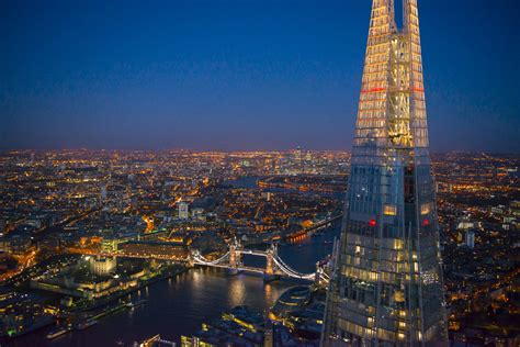 bar at top of shard london and the u k from above