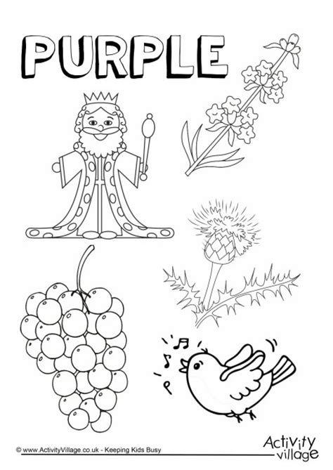 purple things colouring page