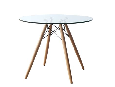 Glass Wood Wire Table Modern Furniture Brickell Collection 36 Inch Glass Dining Table