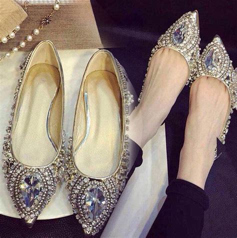 silver flat pointed shoes 2015 autumn luxury brand rhinestone pointed toe