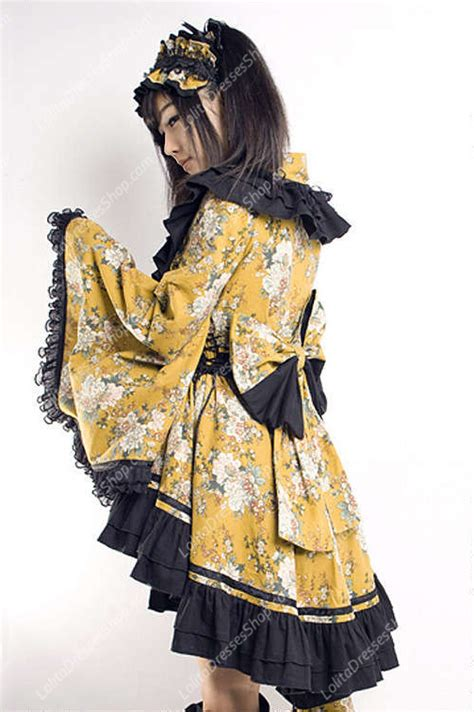 L 799 Adorable 2 Colours Kimono Best Seller cheap yellow and black printing fold kimono sale at dresses shop