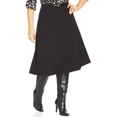 jones new york collection plus size belted a line skirt in