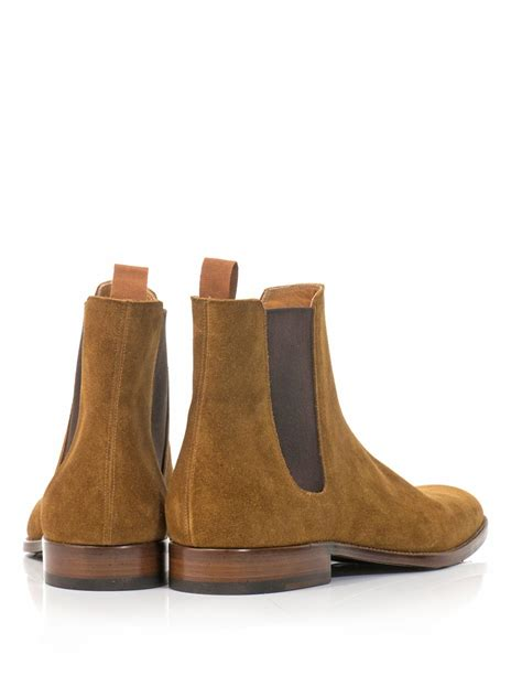 laurent mens chelsea boots laurent suede chelsea boots in brown for camel