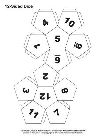 printable colour dice 12 sided dice with tabs tim s printables