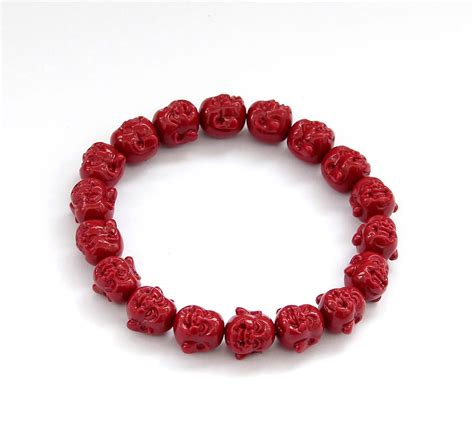 buddhist bracelet coral buddhist laughing buddha elastic