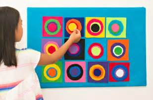 color study squares with concentric circles kandinsky inspired diy wall allfreekidscrafts