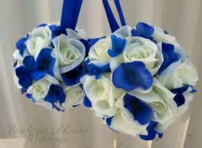 royal blue wedding wedding pomanders white royal blue wedding flower balls flower