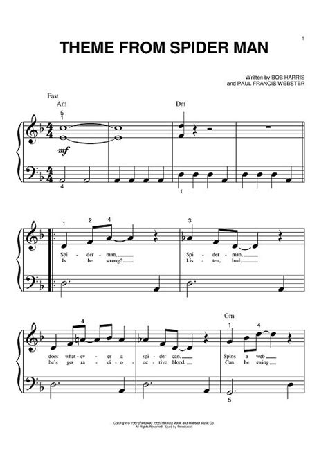 theme song spiderman theme from spider man sheet music by bob harris sheet