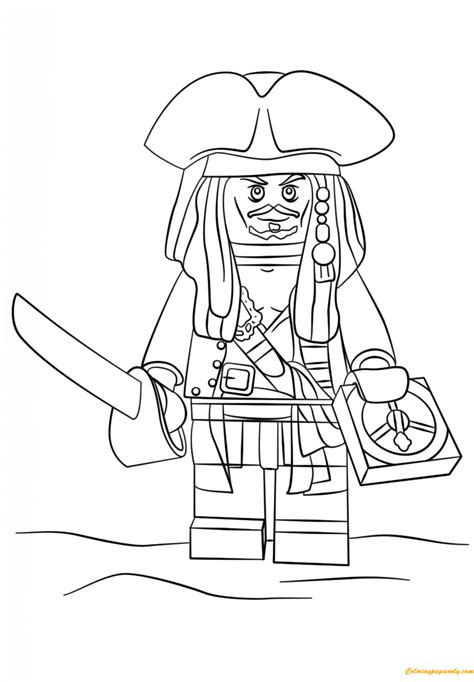 coloring pages lego pirates of the caribbean lego pirate captain jack sparrow coloring page free