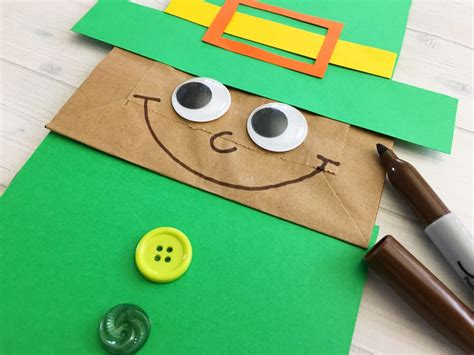 Leprechaun Paper Craft - leprechaun paper bag puppet kid craft about a