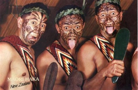 the native maori people of new zealand stick out their