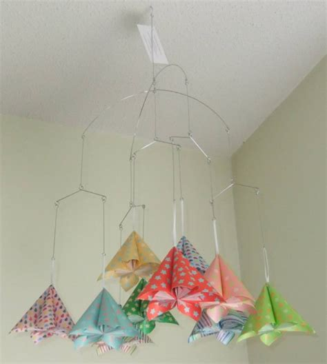 Origami Flower Mobile - whimsical rainbow origami flower mobile aftcra