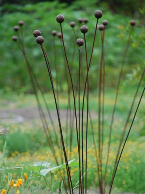 Metal Garden Flowers Sculpture Kinetic Metal Garden Sculpture Grouping Of 7