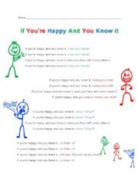 if you are happy testo worksheets if you 180 re happy and you it lyrics