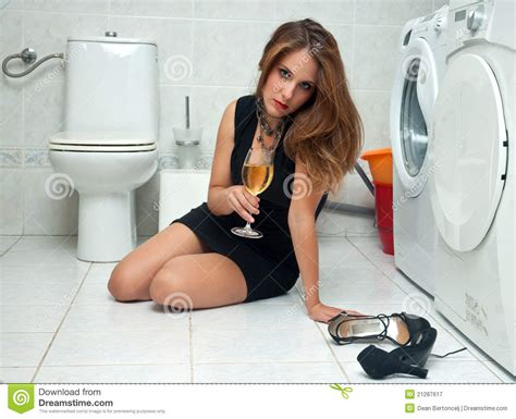 drunk girl bathroom drunk woman in her bathroom royalty free stock photography