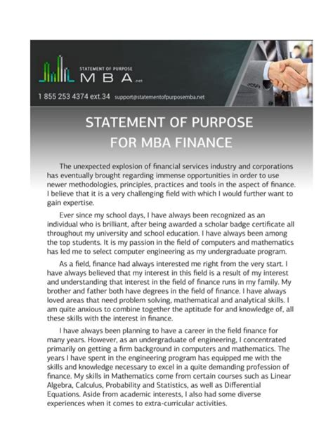Mba Agreement by Sle Statement Of Purpose For Mba Finance