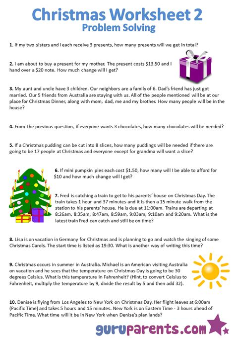 christmas activity forwork worksheets guruparents