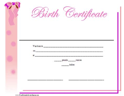 baby doll birth certificate template a printable birth certificate for a baby featuring a