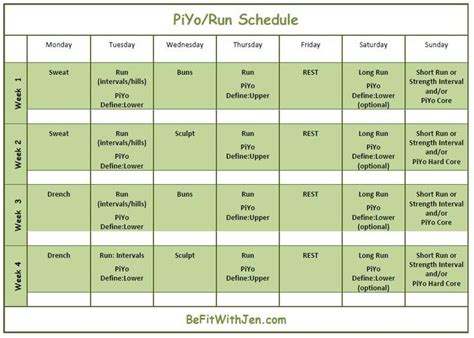 Running Calendar Here Is A Way To And Piyo To Your Customized Run Schedule